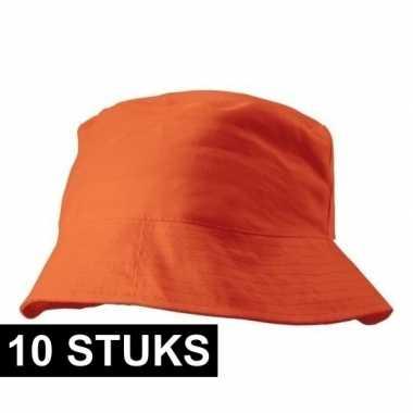 10x oranje vissershoedjes/zonnehoedjes voor volwassenen