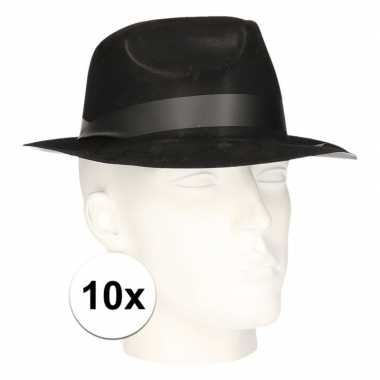 10x polyester zwart gleufhoedjes voor volwassenen