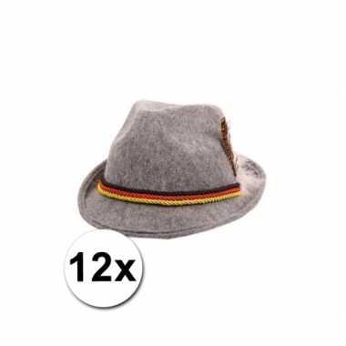 12 grijze tiroler hoedjes