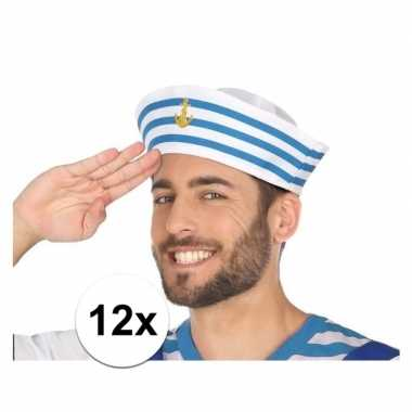 12x wit/blauw matrozen verkleed hoedjes voor volwassenen