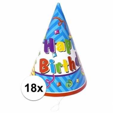 18x stuks voordelige happy birthday hoedjes