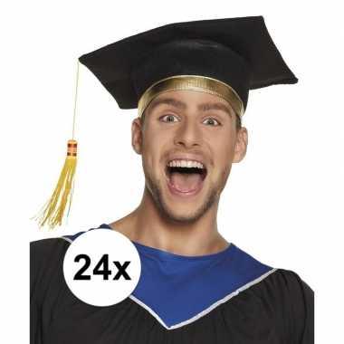 24x afstudeerhoedje / geslaagd hoedje voor volwassenen