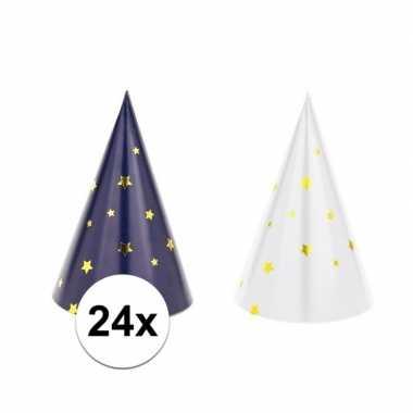 24x blauw/witte feesthoedjes oud en nieuw/nieuwjaar