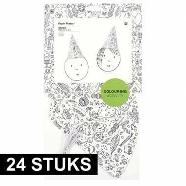 24x knutsel papieren feesthoedjes om in te kleuren voor kinderen