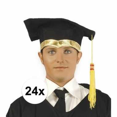24x luxe afstudeerhoedje / geslaagd hoedje met gouden details