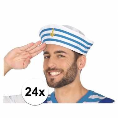 24x wit/blauw matrozen verkleed hoedjes voor volwassenen