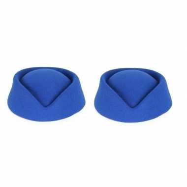 2x blauwe stewardess hoedjes voor dames