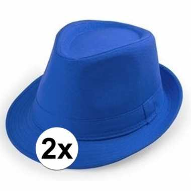 2x goedkope blauwe verkleed hoedjes voor volwassenen