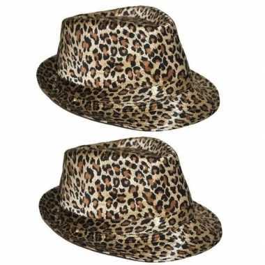 2x luipaard print hoeden