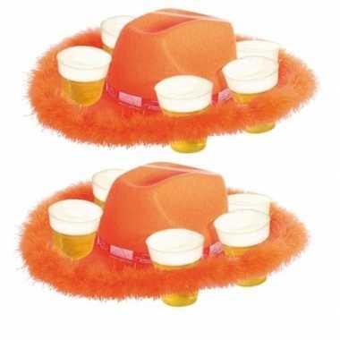 2x oranje bierhoeden met bondrand hoed