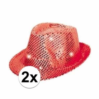 2x pailletten trilby hoeden rood led light