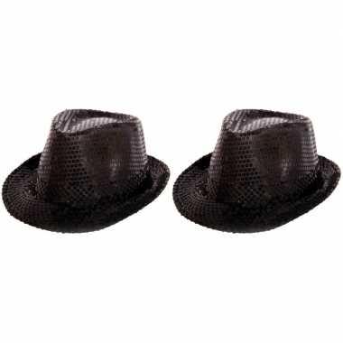 2x party hoedje met zwarte pailletten