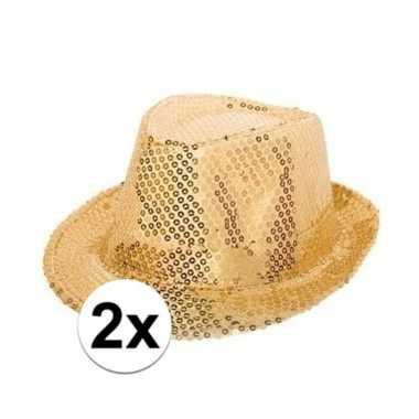 2x party hoedjes met gouden pailletten