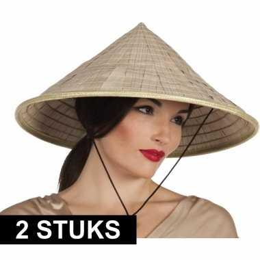 2x puntige hoeden van stro aziatisch