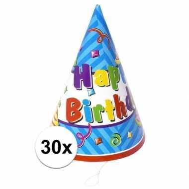 30x stuks voordelige happy birthday hoedjes