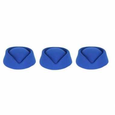 3x blauwe stewardess hoedjes voor dames