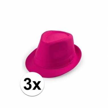 3x goedkope roze verkleed hoedjes toppers 3018