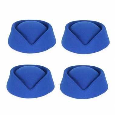4x blauwe stewardess hoedjes voor dames