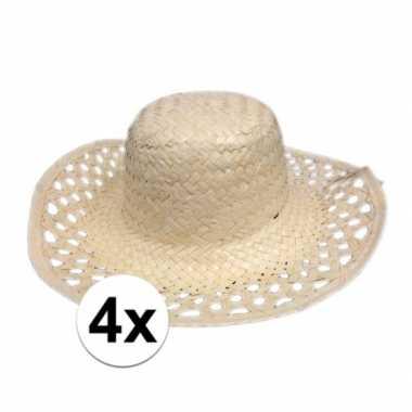 4x hawaii feest hoedje van stro