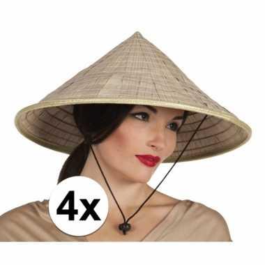 4x stuks aziatische rijstpan strohoeden hoed