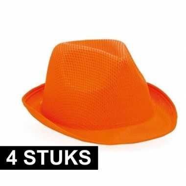 4x trilby thema hoedjes oranje