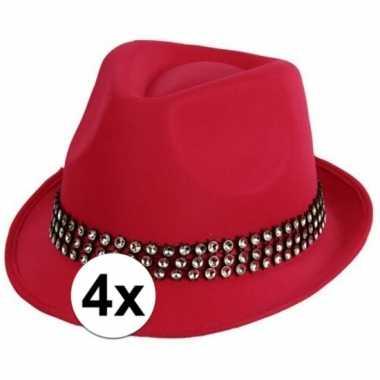 4x voordelige roze toppers hoed met zilveren steentjes