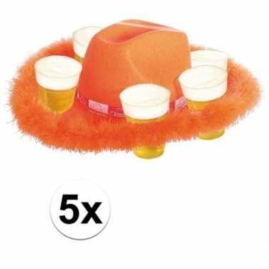 5x oranje bierhoeden met bondrand hoed