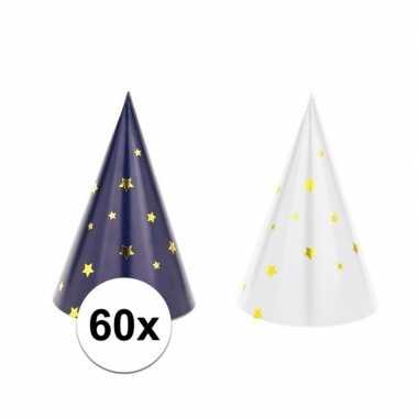 60x blauw/witte feesthoedjes oud en nieuw/nieuwjaar