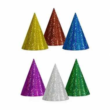 60x gekleurde feesthoedjes glitter