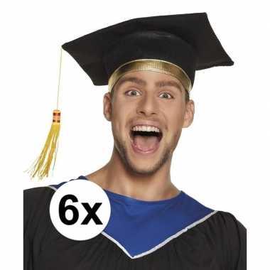 6x afstudeerhoedje / geslaagd hoedje voor volwassenen
