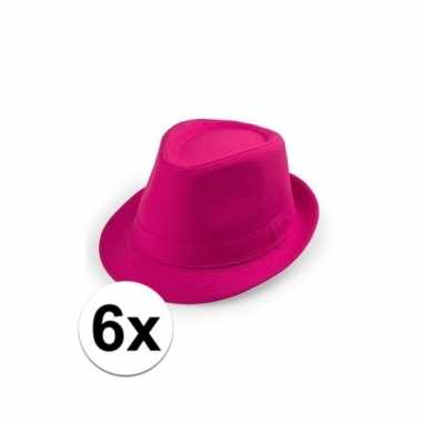 6x goedkope roze verkleed hoedjes toppers 6018