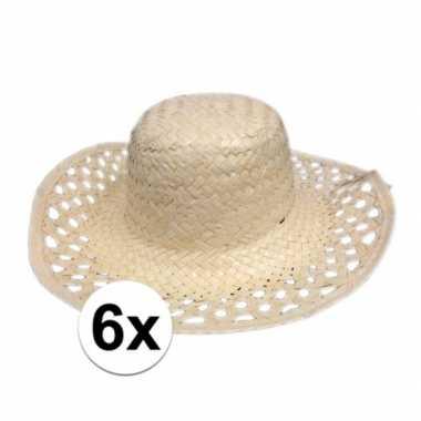6x hawaii feest hoedje van stro