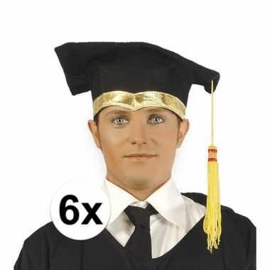 6x luxe afstudeerhoedje / geslaagd hoedje met gouden details