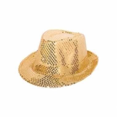 6x party hoedje met gouden pailletten