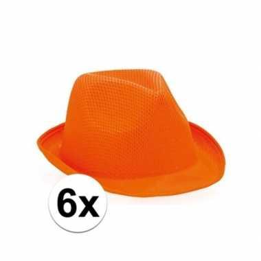 6x trilby thema hoedjes oranje