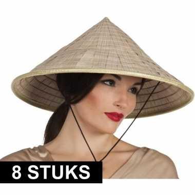 8x puntige hoeden van stro aziatisch