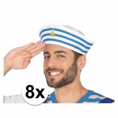 8x wit/blauw matrozen verkleed hoedjes voor volwassenen