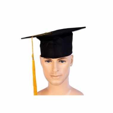 Afstudeer hoed geslaagd zwart met gouden kwast voor volwassenen