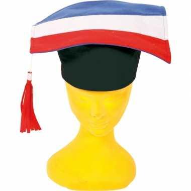 Afstudeerhoedje/doctoraal geslaagd hoedje rood/wit/blauw