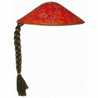 Aziatische/chinese hoed rood met vlecht