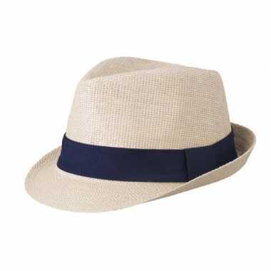 Beige gevlochten hoedje met contrasterende band