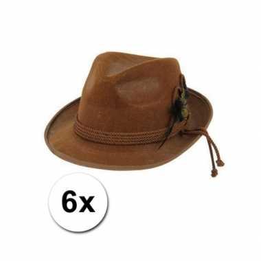Bierfeest hoedjes bruin 6x