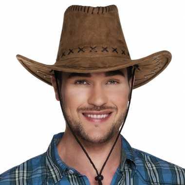 Bruine cowboyhoed elroy lederlook voor volwassenen