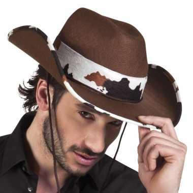 Bruine cowboyhoed texas koeienprint voor volwassenen