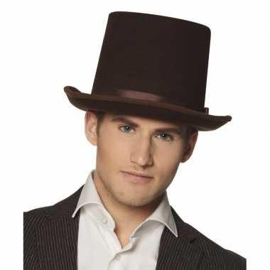 Bruine luxe hoge hoed voor heren