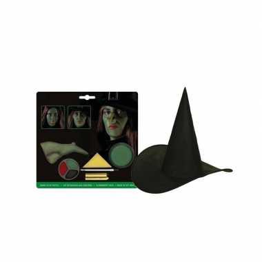Compleet kinder heksen pakket met schmink en hoed