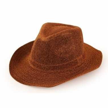 Cowboyhoed koperbruin glitter voor volwassenen
