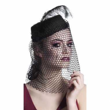 Dames hoeden met sluier zwart