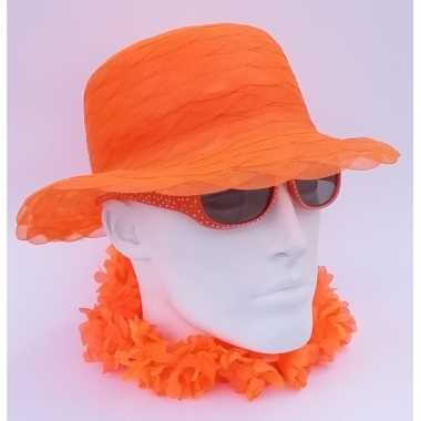 Dameshoed oranje organza hoed