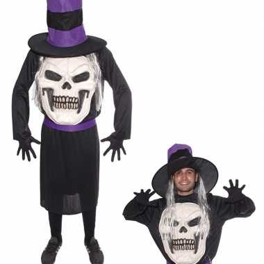 Doodskop halloween met hoed kostuum voor heren
